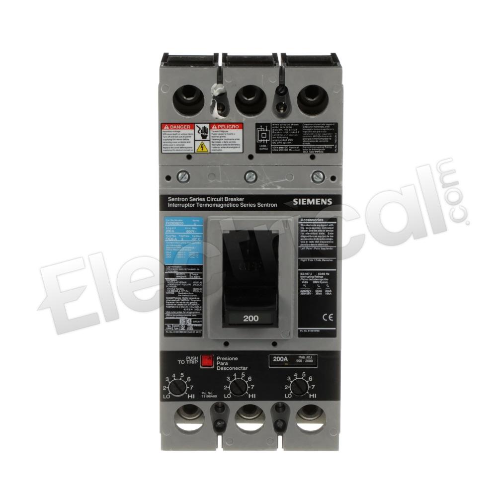 Siemens FXD63B200 Sentron Series Molded Case 200 Amp Circuit Breaker